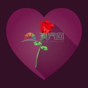 情人節愛心幾何紅色玫瑰花素材