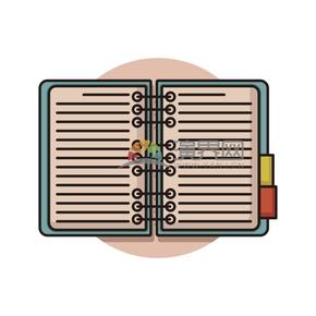 简洁创意黑色线条绿色封面粉色书籍本子卡通图