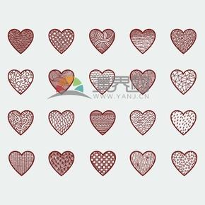 不同爱心花纹样式合集