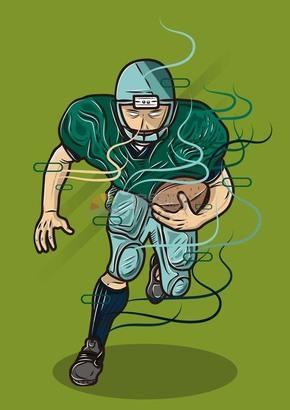 趣味活泼形象生动可爱橄榄球运动员卡通图