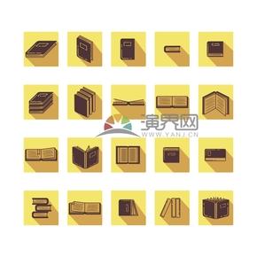 黃色多種書本造型卡通圖標創意設計