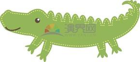 卡通动物贴纸风鳄鱼