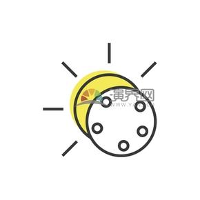 简洁创意黑色线条灯泡电灯卡通图