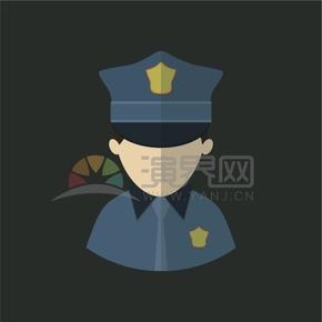 黑色背景警察職位卡通人物元素創意設計