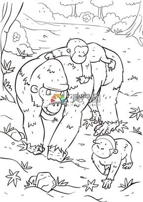 卡通線稿動物猩猩家庭素材