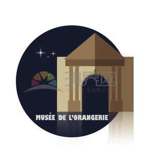 高级典雅法国巴黎橘园博物馆艺术建筑卡通画