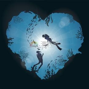 心形海底情侶夫妻浪漫海底潛水卡通圖