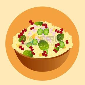 卡通精美蔬菜沙拉素材
