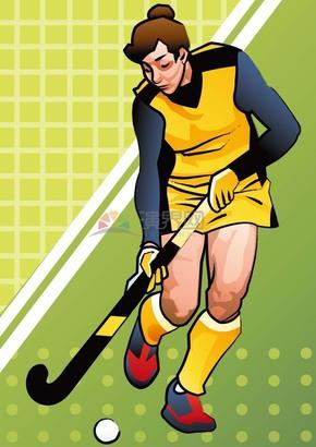 趣味活泼形象生动可爱曲棍球女子运动员卡通图