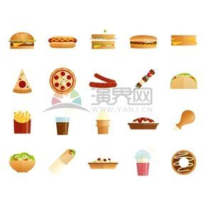 高热量食物矢量素材