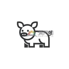 简洁创意黑色线条可爱小动物小猪卡通图