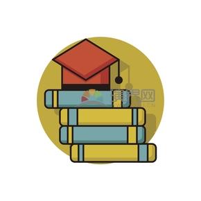 简洁创意黑色线条黄蓝色书籍本子卡通图