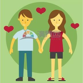 卡通愛情情侶素材