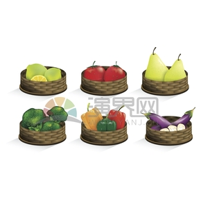 白色背景籃筐里的蔬菜 水果卡通食物創意設計