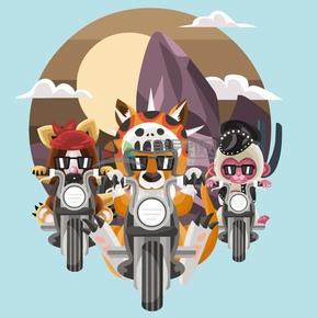 卡通创意动物骑车插画