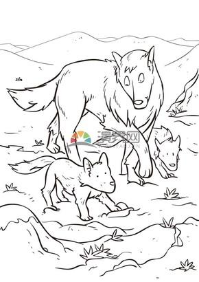 卡通線稿動物狼家庭素材