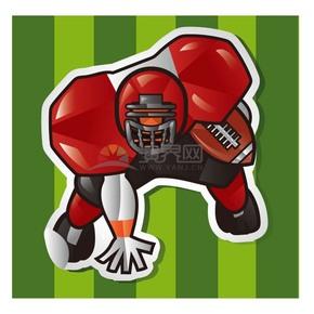 趣味活泼形象生动橄榄球勇猛运动员卡通图