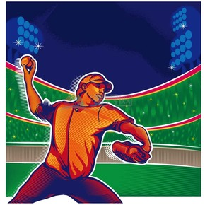 趣味活泼形象生动小男孩棒球运动员卡通图
