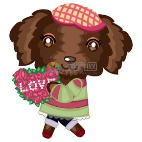 卡通動物手持愛心鮮花的泰迪狗