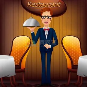 趣味活泼形象生动餐厅服务生卡通图