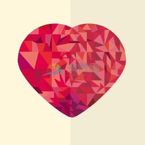 卡通情人節立體幾何紅色漸變愛心素材