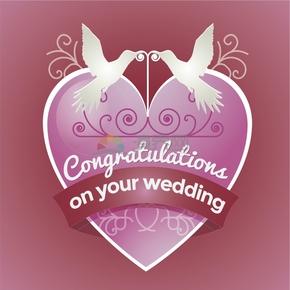 祝賀結婚婚禮粉色心形白色同林鳥祝福賀卡圖