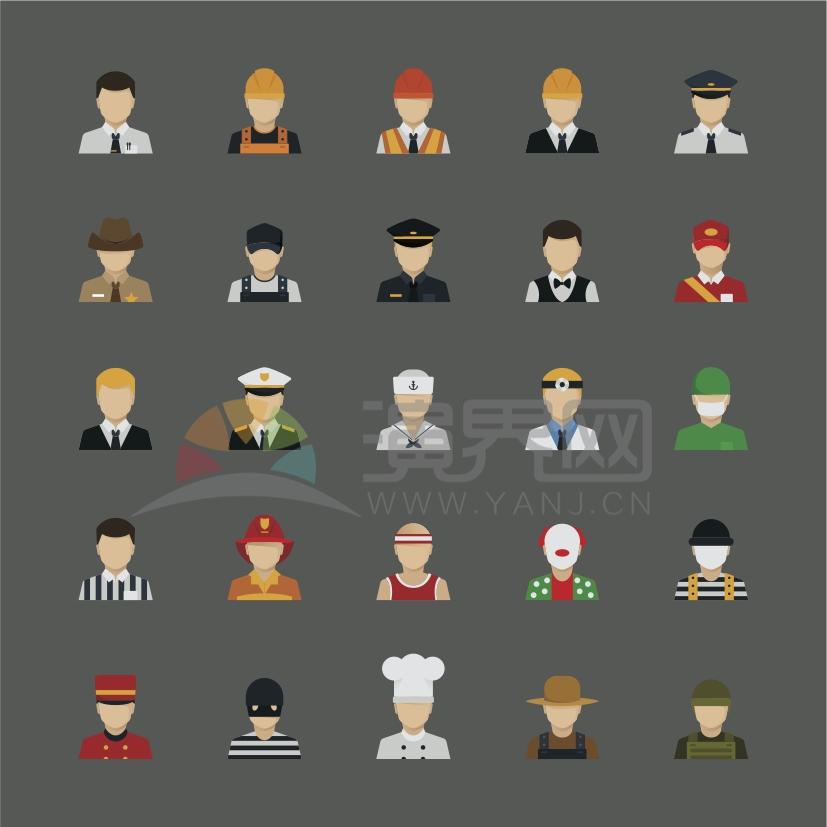 深色系背景多种职位卡通人物元素设计合集