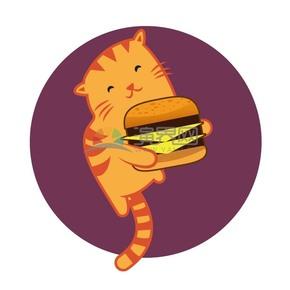 可爱的小猫手里拿着汉堡包