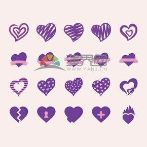 情人节爱情情侣紫色设计艺术爱心合集