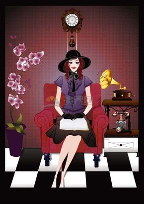 穿紫色衣服的可爱女生坐在沙发上看书卡通图