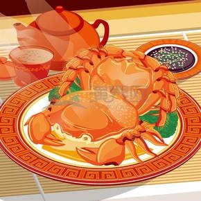 螃蟹大餐卡通元素