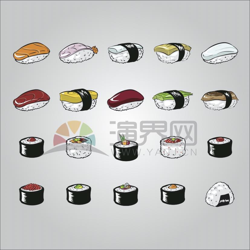 灰色背景寿司卡通元素食物创意设计合集