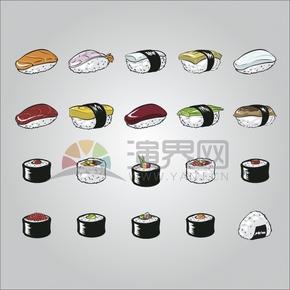 灰色背景壽司卡通元素食物創意設計合集