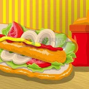卡通夹心火腿肠蔬菜餐点
