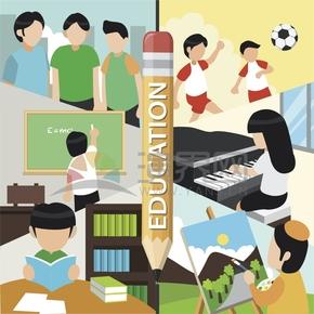 豐富多彩的學習自由活動興趣愛好校園生活卡通圖