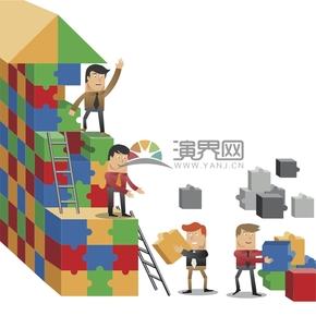 趣味活潑簡約清新建筑工人協作搬磚蓋房卡通圖