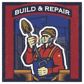 趣味活泼简约清新建筑工人辛勤劳动卡通图