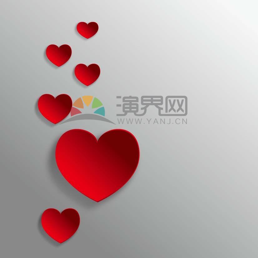 紅色愛心漂浮素材