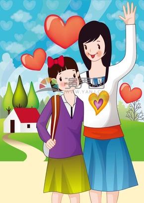 母女溫馨卡通插畫素材