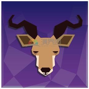 紫色背景羊头卡通元素