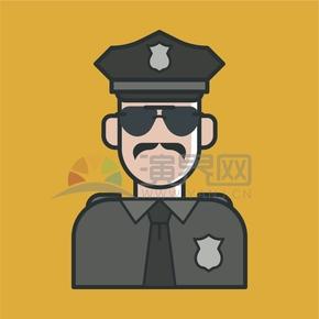 黃色背景警察站崗卡通人物元素創意設計