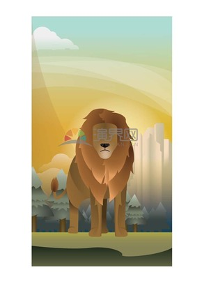 卡通矢量动物狮子王