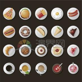 棕色背景美食卡通食物元素創意設計合集