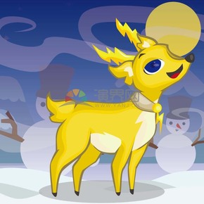 黄色的小鹿在雪地里很快乐
