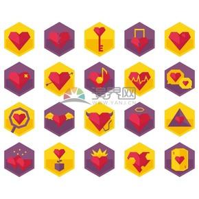 黃紫雙色六邊形愛心矢量素材