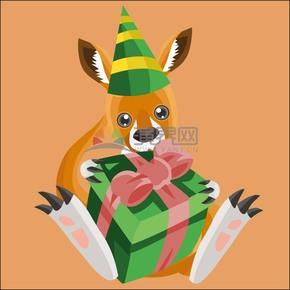 卡通圣誕節動物立體幾何懷抱禮物袋鼠