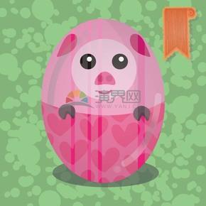 粉红猪可爱蛋卡通元素