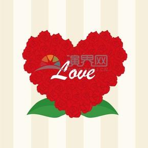 愛心玫瑰卡通元素