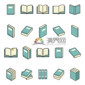 简洁创意黑色线条绿色书籍本子卡通图合集