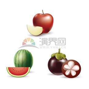 卡通苹果西瓜山竹水果合集
